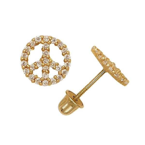 114ed2614 Shop Curata Solid 14k Yellow or White Gold Round Cubic Zirconia Beaded  Peace Sign Screw-back Stud Earrings (8mm) - On Sale - Free Shipping Today -  Overstock ...