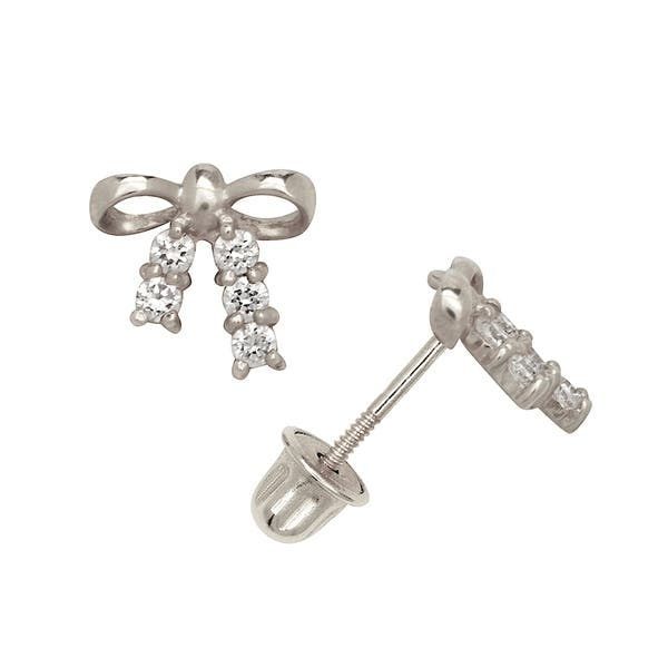 Curata Solid 14k Yellow Or White Gold Round Cubic Zirconia Small Bow Tie Ribbon Back Stud Earrings 8mm