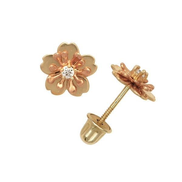 d4a16effe0b55 Curata Solid 14k Yellow or White Gold Round Cubic Zirconia Hibiscus Flower  Screw-back Stud Earrings (7mm)