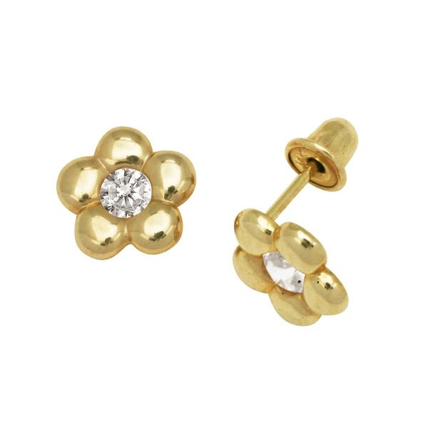5ede026754b45 Curata Solid 14k Yellow or White Gold Round Cubic Zirconia Puffed Daisy  Flower Screw-back Stud Earrings (8mm)