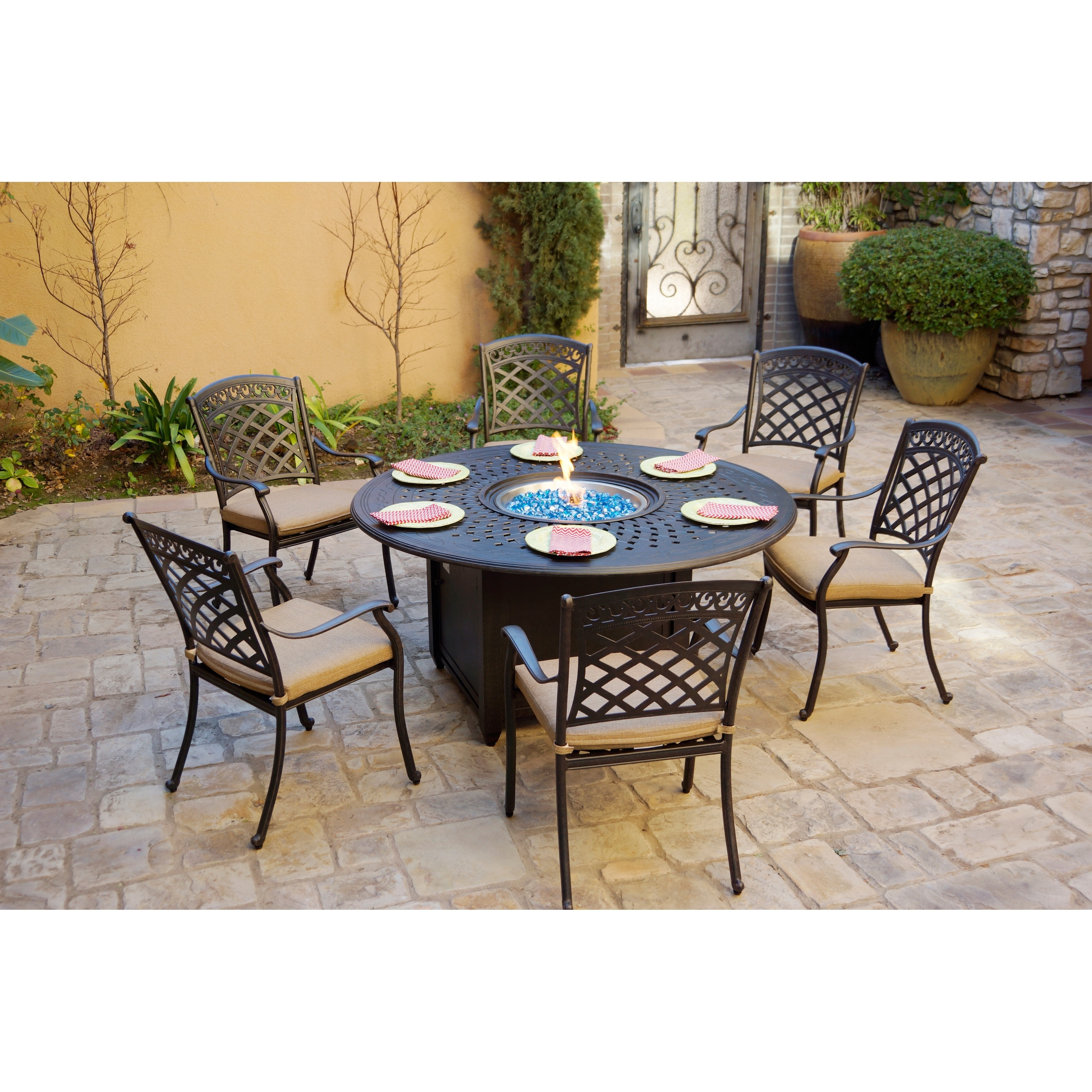 7 Piece Patio Fire Pit Dining Set 60 Inch Round Propane Table With Firegl