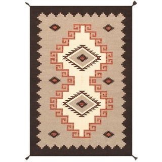 Pasargad Home Kilim Collection Wool Hand-Woven Ivory Area Rug