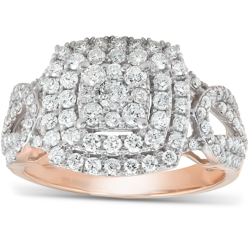 Diamond Wedding Band in 10K Pink Gold G-H,I2-I3 1//5 cttw, Size-7.5