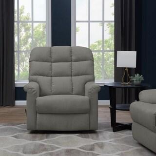 Copper Grove Deinze Blue/Grey/Tan Velvet Tufted Back Extra Large Wall Hugger Reclining Chair