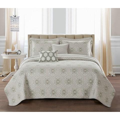 Serenta Bloom Medallion 5 Piece Reversible Quilt Bedspread Set
