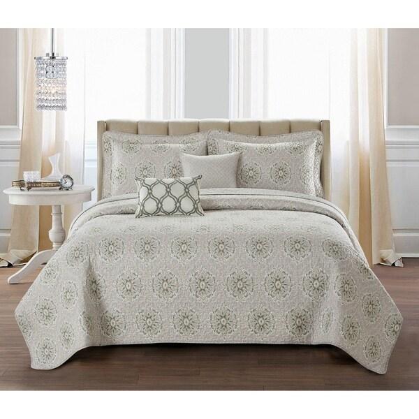 Serenta Bloom Medallion 5 Piece Reversible Quilt Bedspread Set. Opens flyout.
