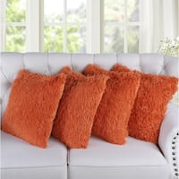 Serenta Shaggy Faux Fur Decorative Throw Pillow Cover (set of 2 or 4)