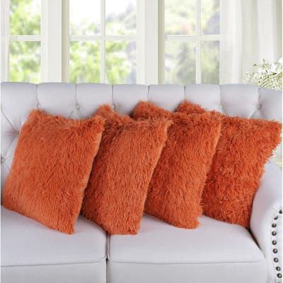 Porch & Den Halsted Shaggy Faux Fur Decorative Throw Pillow Cover Set