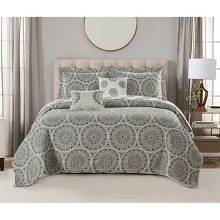 Serenta Tribal Medallion 5 Piece Reversible Quilt Bedspread Comforter Set