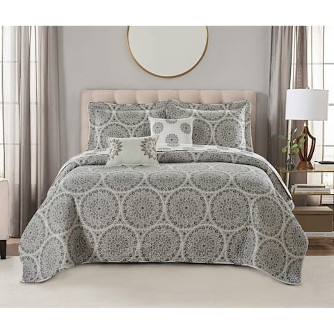 Serenta Medallion 5-piece Reversible Quilt Comforter Set