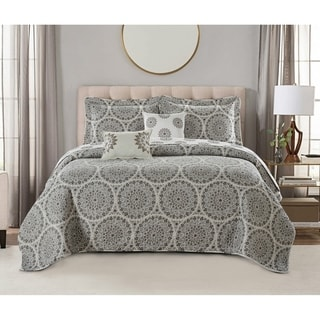 Serenta Tribal Medallion 5 Piece Reversible Quilt Bedspread Comforter Set