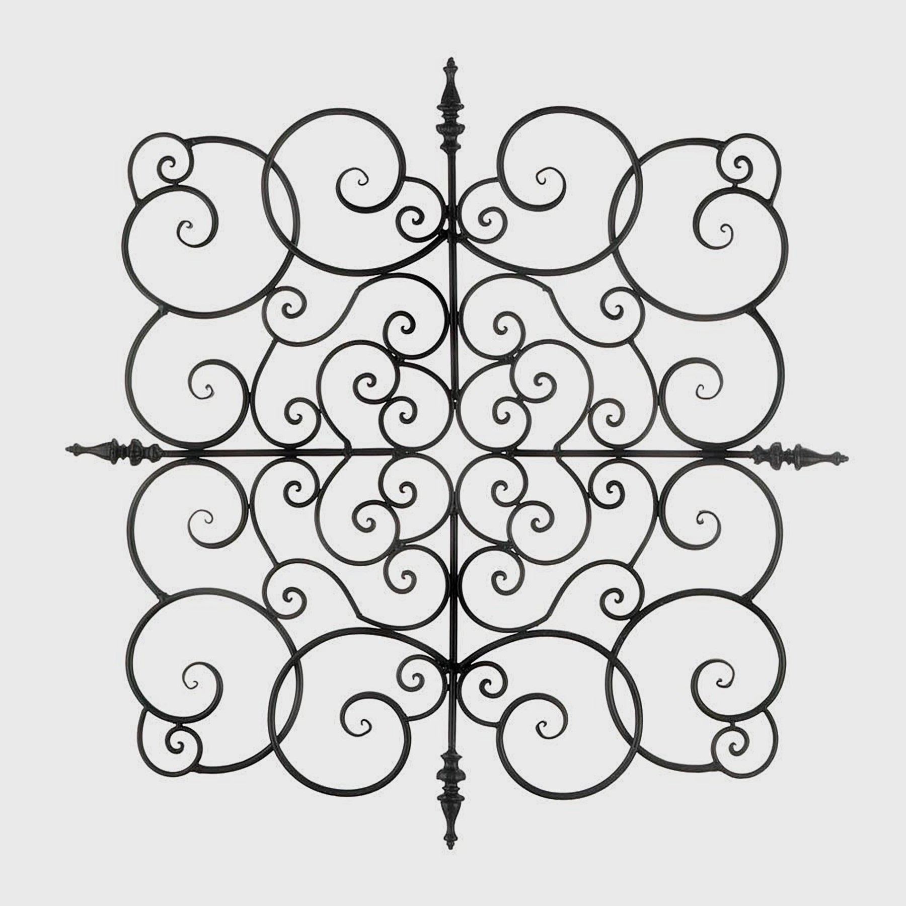Image of: Shop Black Friday Deals On Buren Black Wrought Iron Scrolling Square Wall Art Overstock 27326741