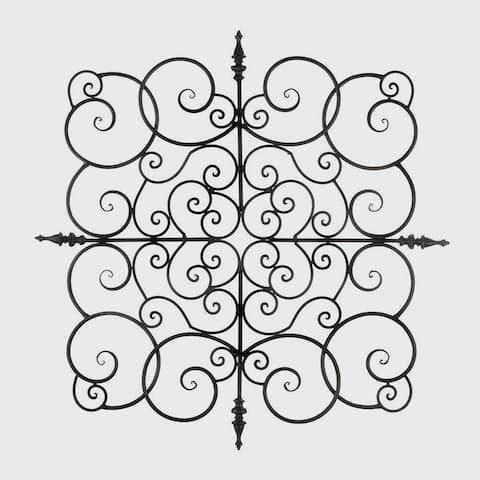 Buren Black Wrought Iron Scrolling Square Wall Art