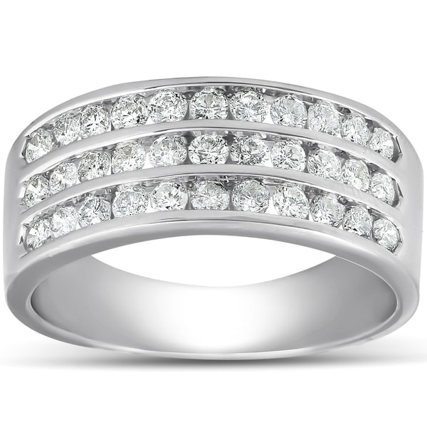 Shop Pompeii3 10k White Gold 1 Ct TDW Diamond Three Row