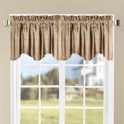 "Serenta Marquesa Dots Embroidery Silk Blended 2 Piece Valance Set - 46"" x 19"""