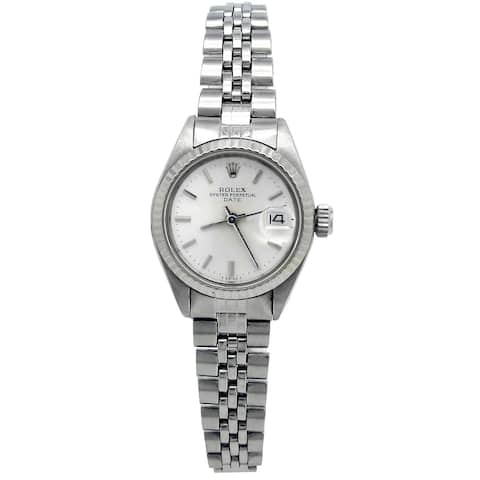 Pre-owned 26mm Rolex Stainless Steel Oyster Perpetual Date Watch with Silver Dial