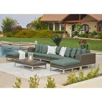 Havenside Home Stillwater Indoor/Outdoor Sectional Seating Group with Ottomans and Table