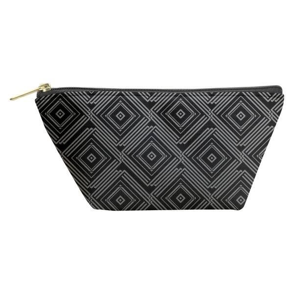 Katelyn Elizabeth Ombre Square Maze Accessory Pouch (T-Bottom) - Black  Zipper