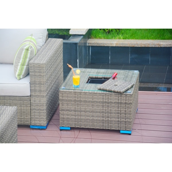 Shop Outdoor Wicker Coffee Side Table With Ice Bucket By Moda