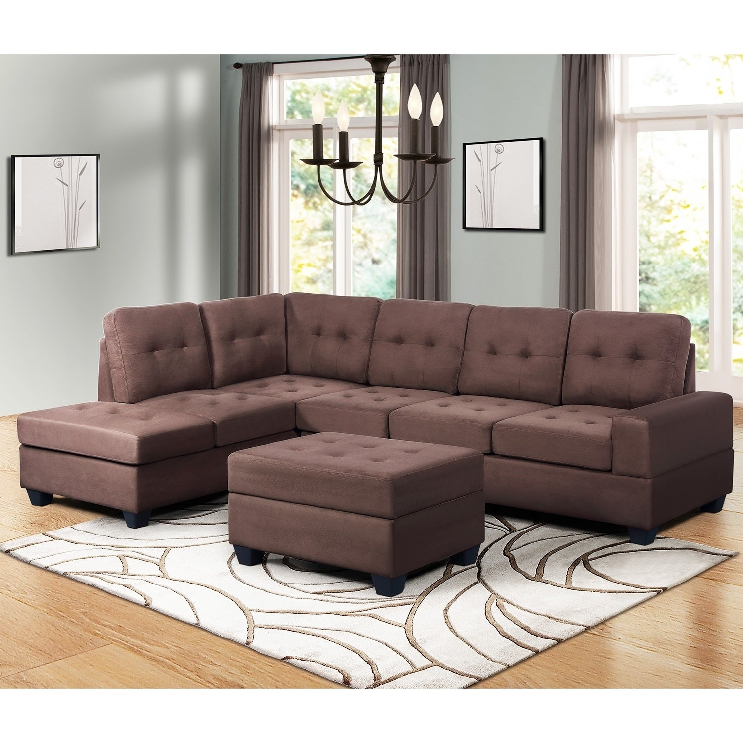 Harper Bright Designs 3 Piece Sectional Sofa With Chaise Lounge Ottoman And Cup Holders