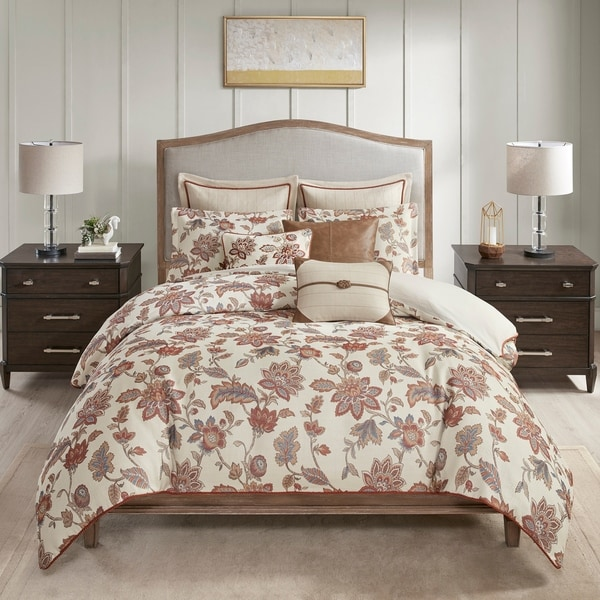 Madison Park Signature Wentworth Red Jacquard Oversized Comforter Bedding Set