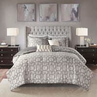 Madison Park Nonnah Grey 7 Piece Jacquard Comforter Set