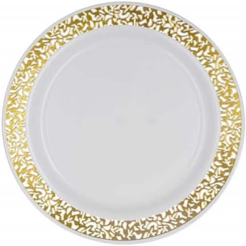 Party Joy 100-Piece Plastic Salad Plate Set Lace Collection Heavy Duty Premium Plastic Plates(White w/ Gold Lace)