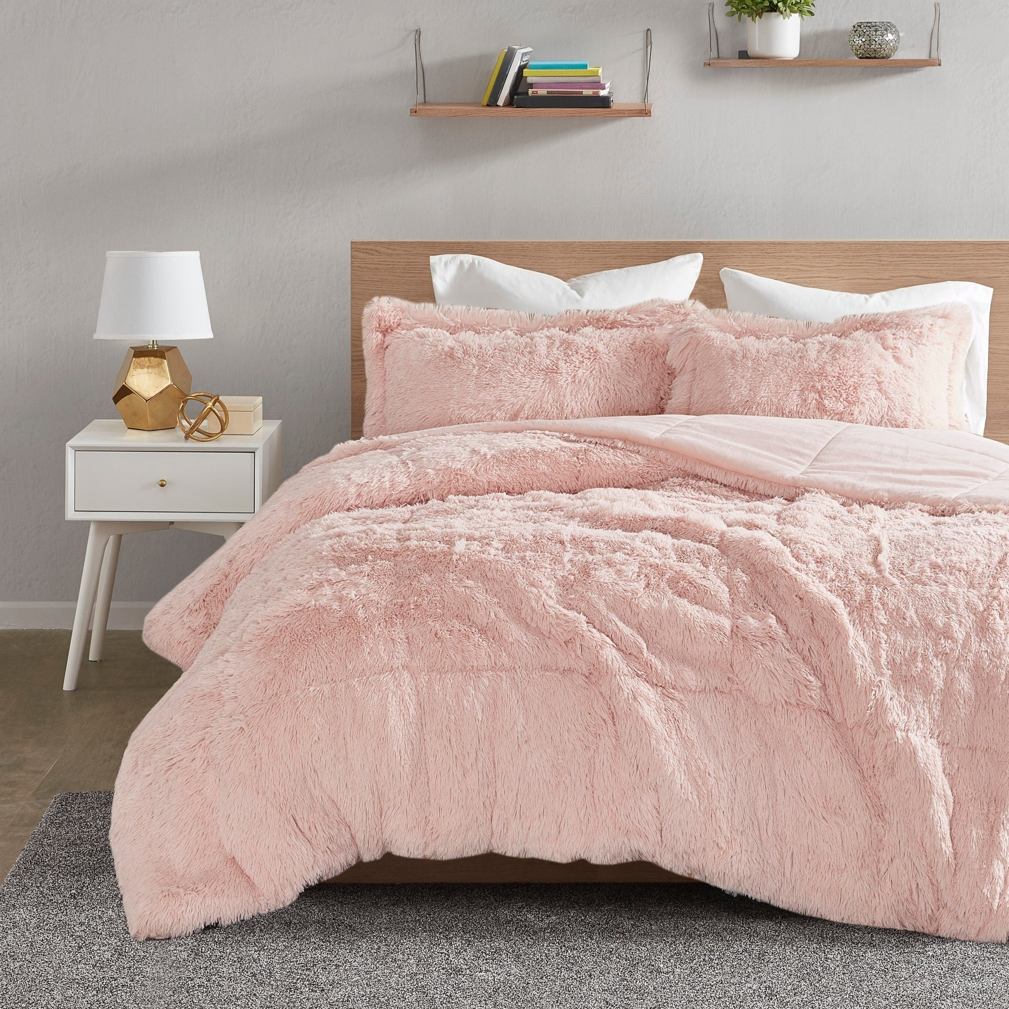 Shop Intelligent Design Leena Shaggy Faux Fur Comforter Set On