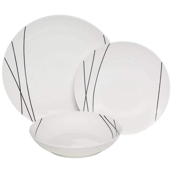 Melange 18 Piece Coupe Porcelain Dinner Set, Black Lines (Pack of 18)