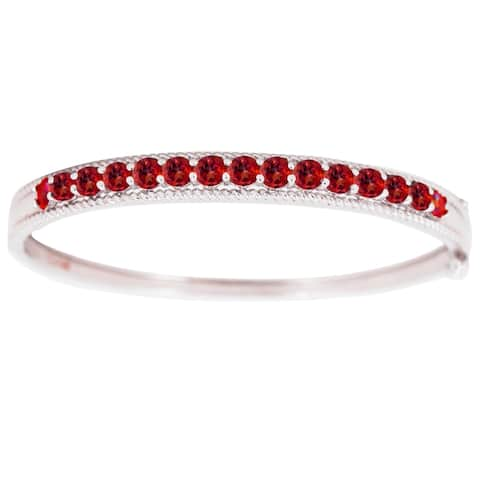 Sterling Silver with Natural Garnet Bangle Bracelet-6.5""