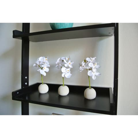 """Artificial 7"""" White Phalaenopsis Orchid Flower Arrangement Including Round Cement Vase, Set of 3"""