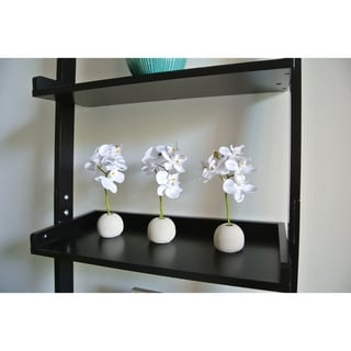 "Artificial 7"" White Phalaenopsis Orchid Flower Arrangement Including Round Cement Vase, Set of 3"