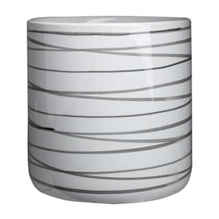 Urban Trends Ceramic Round Pot Planters with Horizontal Dark Gray Lines Design Body in Gloss Finish, Large - White