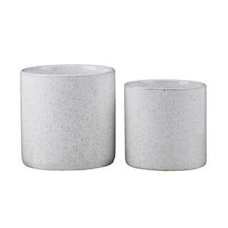 UTC50343: Ceramic Round Pot Planter with Speckled Brown Design Body SM Gloss Finish White