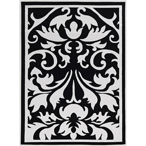 Capri Damask Black/White Area Rug - 6'5 x 9'3