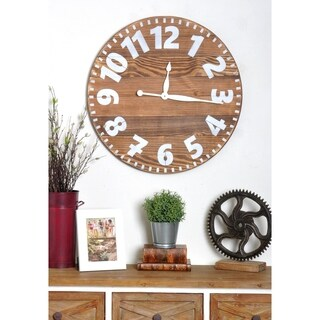 Oversized Brown Industrial Style Wall Clock