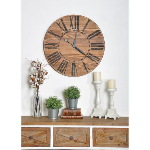 Oversized Brown Farmhouse Wall Clock