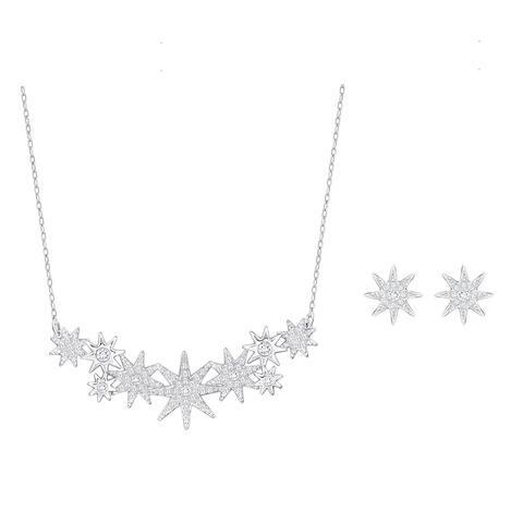 SWAROVSKI Swarovski Silver Classic Crystal Snowflake Necklace Earrings Set 5106101