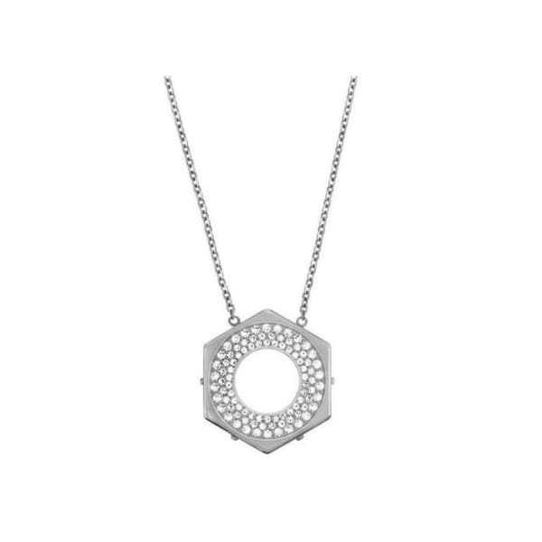 951e46f220 Shop Swarovski elements Bolt 5096635 Stainless Steel Hexagon Crystal Pave  Pendant Necklace - White - Free Shipping Today - Overstock - 27334609