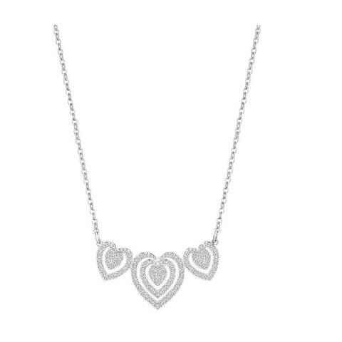 Swarovski Crystal Carol Pave Triple Heart Pendant Necklace - 5228773