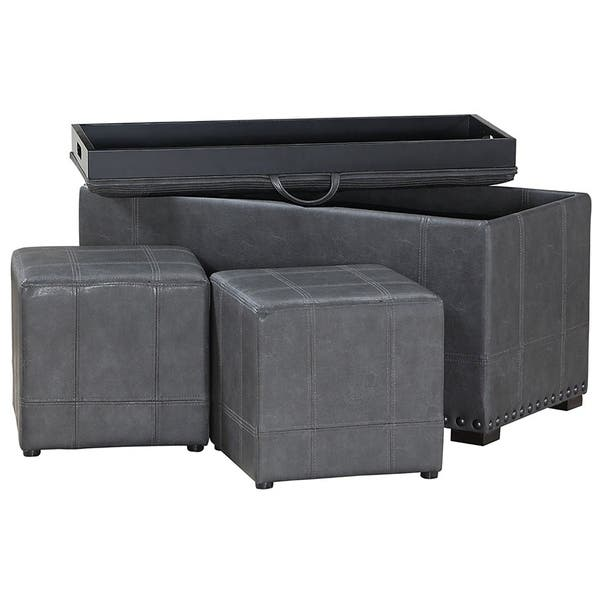 Magnificent Shop Accent Storage Bench Ottaman Gray Free Shipping Today Dailytribune Chair Design For Home Dailytribuneorg