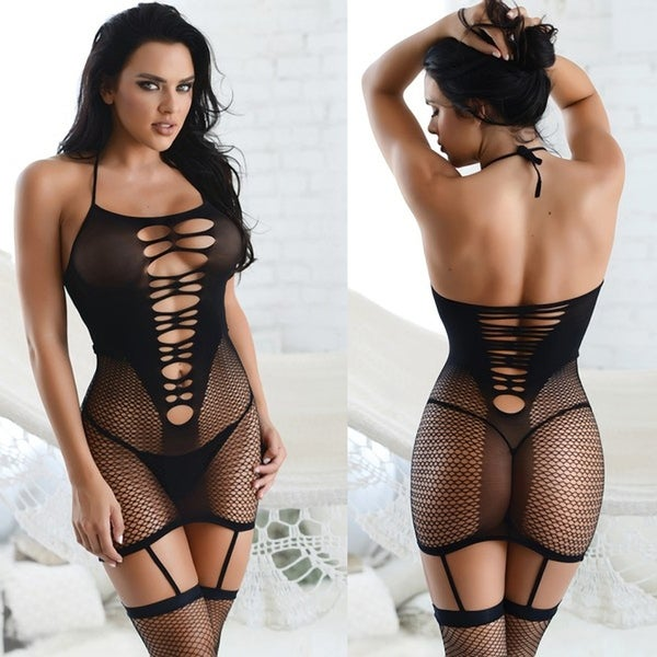d9155940f5f Shop Halter Neck Ripped Fishnet Bodystocking with Attached Garter ...