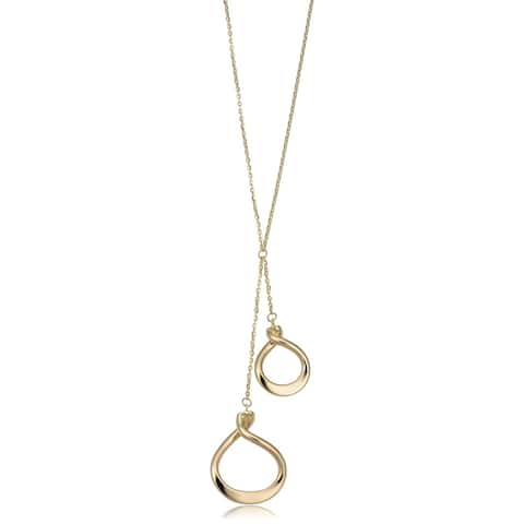 14k Yellow Gold Double Pear Twist Drop Necklace (adjustable to 17 or 18 inches)