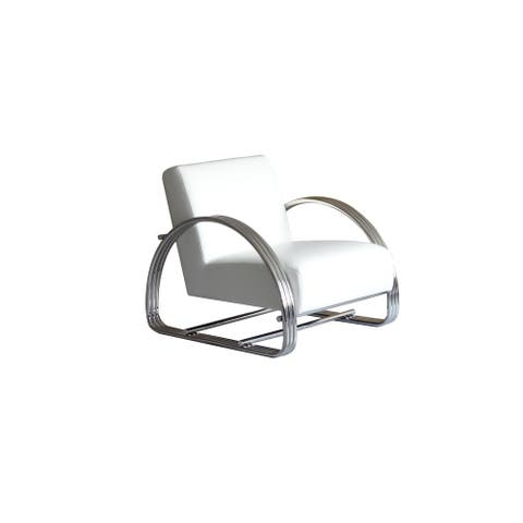 Pasargad Home Concord Leather & Stainless Steel Lounge Chair-White