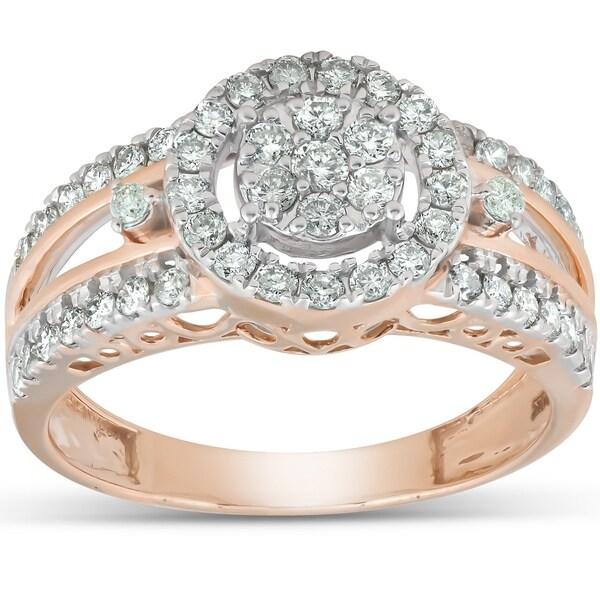 Shop Pompeii3 10k Rose Gold 3/4 Ct TDW Round Halo Diamond