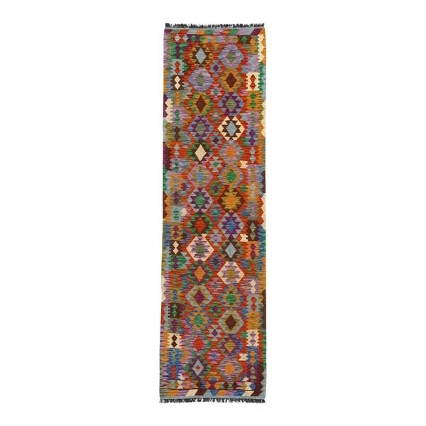 "Pasargad DC Afghan Kilim Handspun Wool - 2'8""x 9'6"" - 2′8″ × 9′6″"