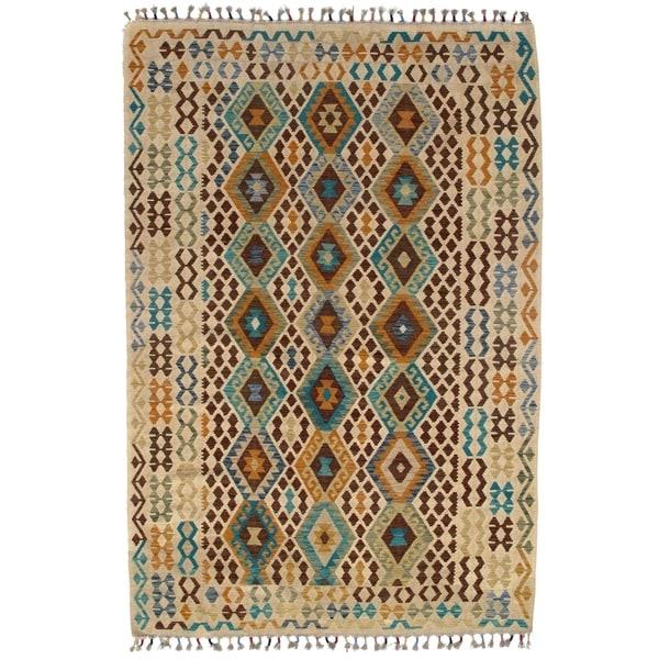 "Pasargad DC Afghan Kilim Handspun Wool - 6'7""x 9'7"" - 6′7″ × 9′7″"