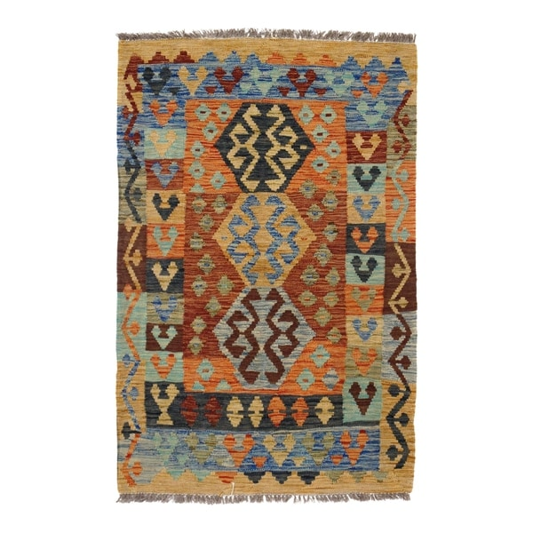"Pasargad DC Afghan Kilim Handspun Wool - 3'2""x 4'9"" - 3′2″ × 4′9″"