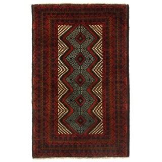 "Pasargad NY Afghan Baluch Wool Rug - 3' X 4'8"" - 3' X 4'8"""