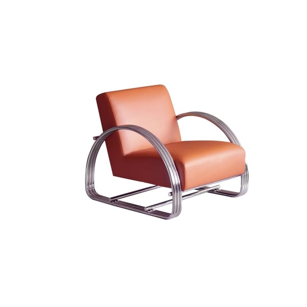 Pasargad Home Concord Leather & Stainless Steel Lounge Chair-Orange. Opens flyout.